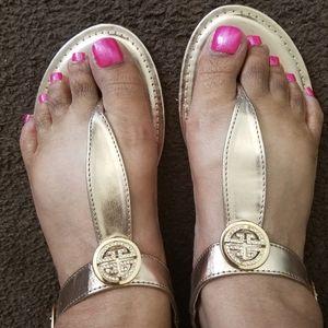 Rose Gold Thong Sandals